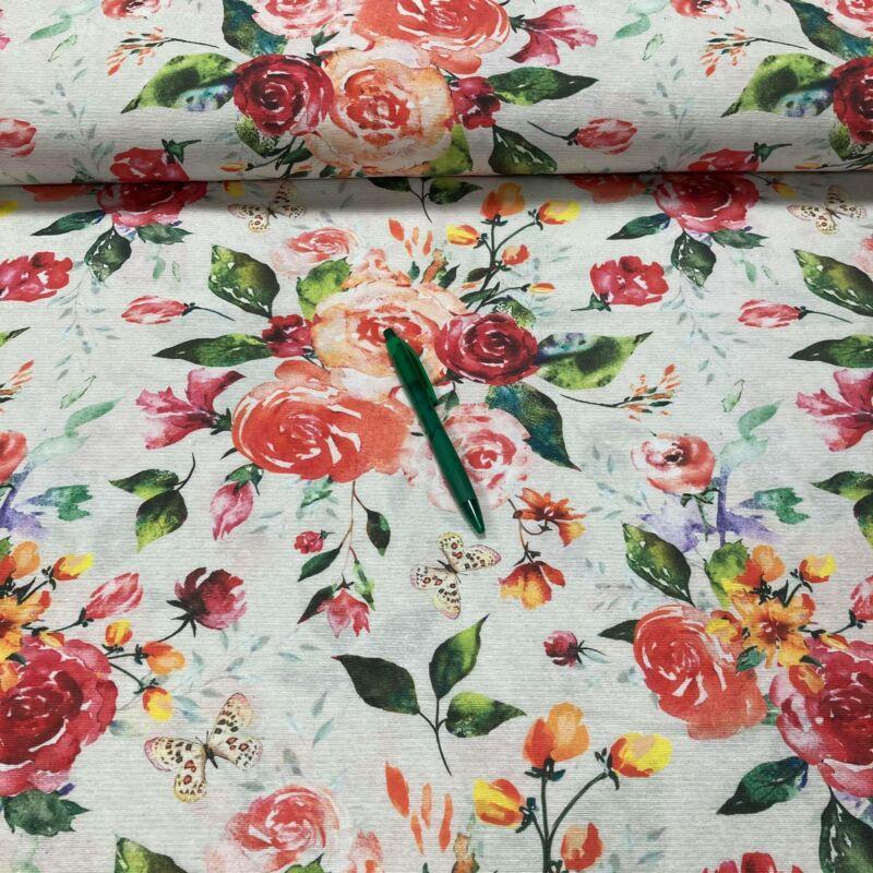rózsacsokor mintás loneta vászon