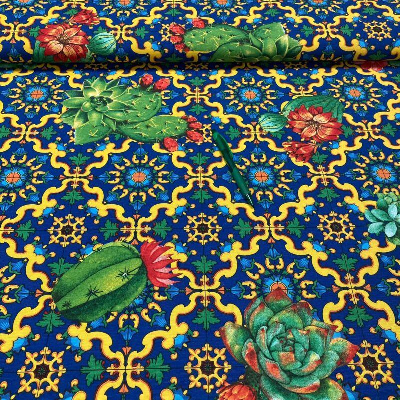 kaktusz mintás loneta vászon