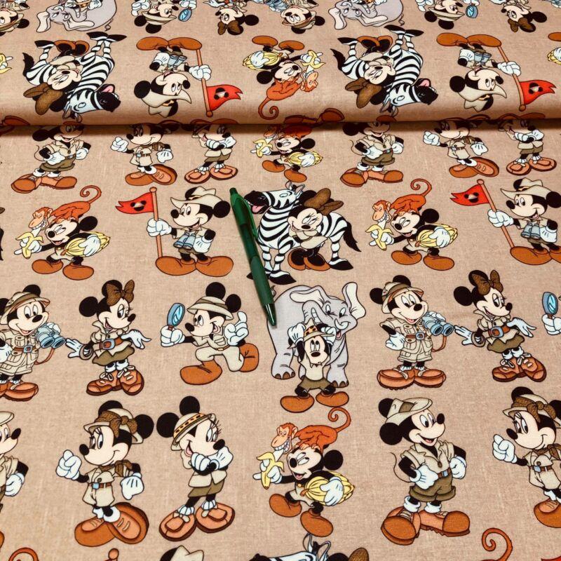 Mickey/Minnie szafariban mintás futter anyag