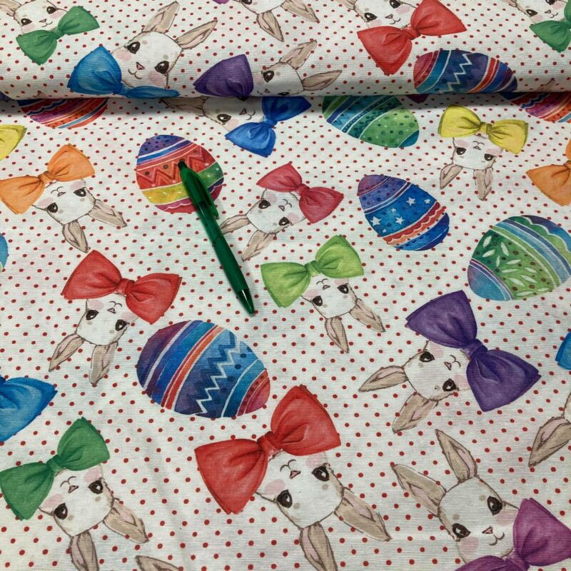 színes csokornyakkendő nyuszi mintás loneta vászon