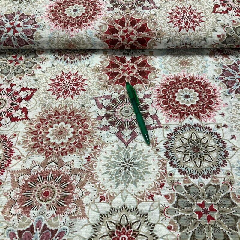 piros/bordó kaleidoszkóp mintás loneta vászon