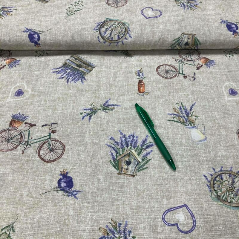 levendulás-biciklis loneta vászon