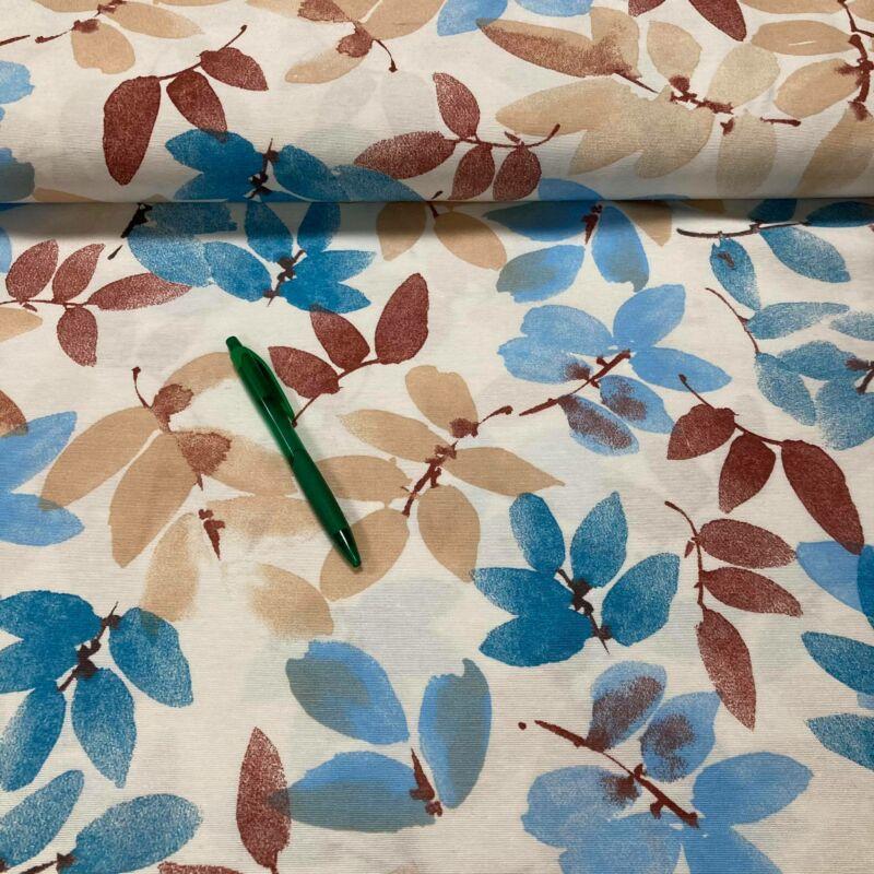 kék-rozsda levél mintás loneta vászon