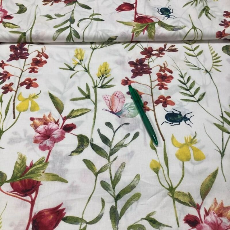 pillangó-bogár-virág mintás pamut karton