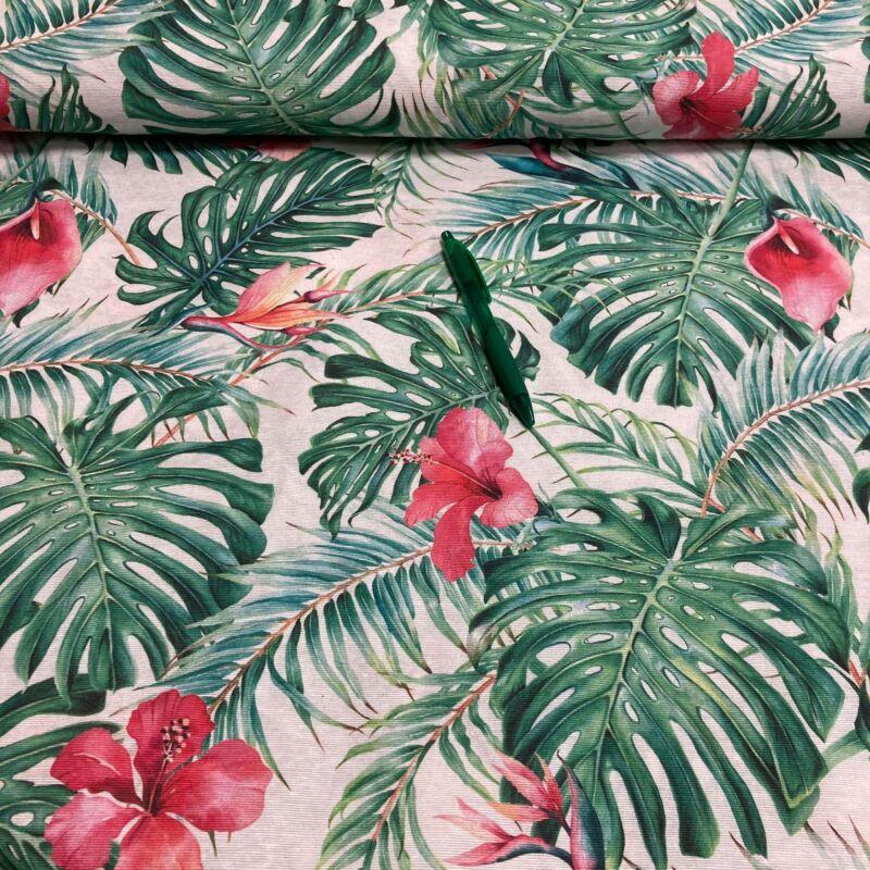 zöld levél piros virágokkal mintás loneta vászon