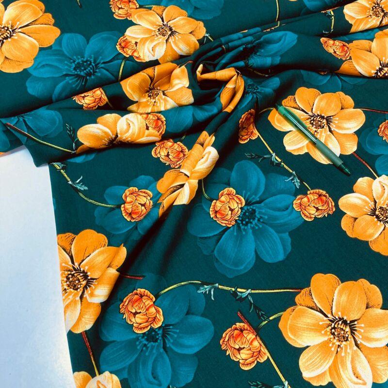 sötétzöld-sárga virág mintás flokon