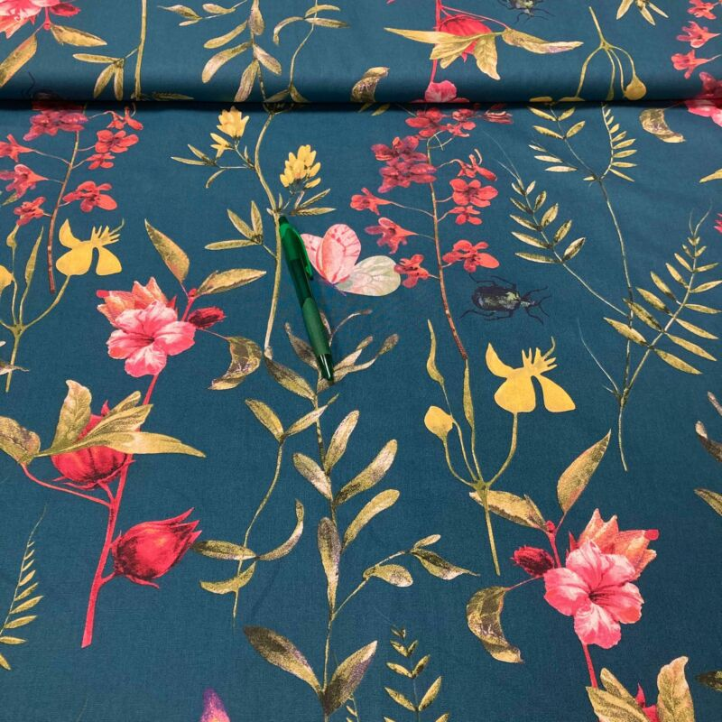 petrolkék alapon virág mintás pamut karton
