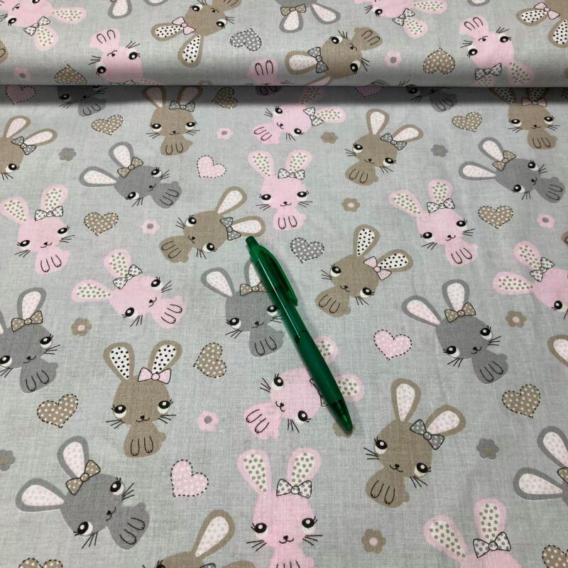 szürke alapon nyuszi mintás pamut karton