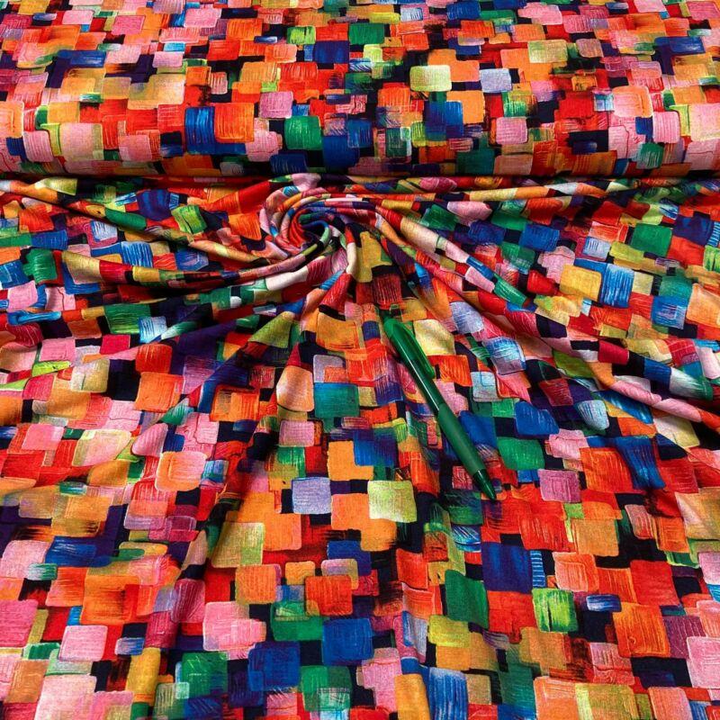színes kocka mintás viszkóz pólóanyag