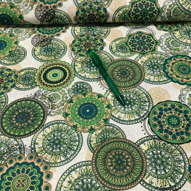 zöld mandala mintás pamut karton