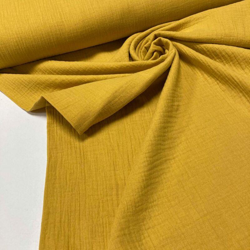 mustár színű duplafalú géz anyag