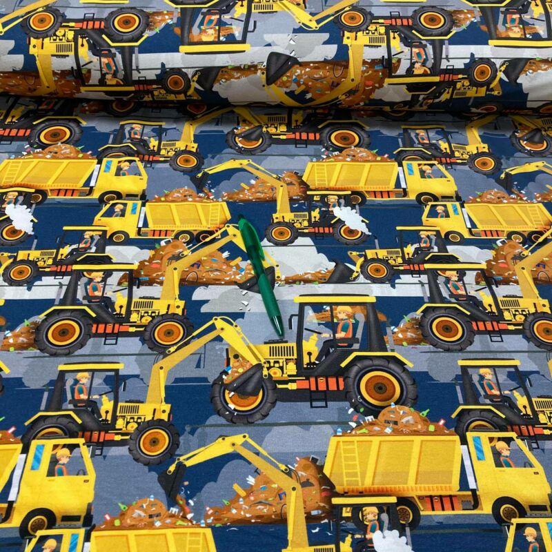 sárga munkagép mintás hurkolt pamut futter