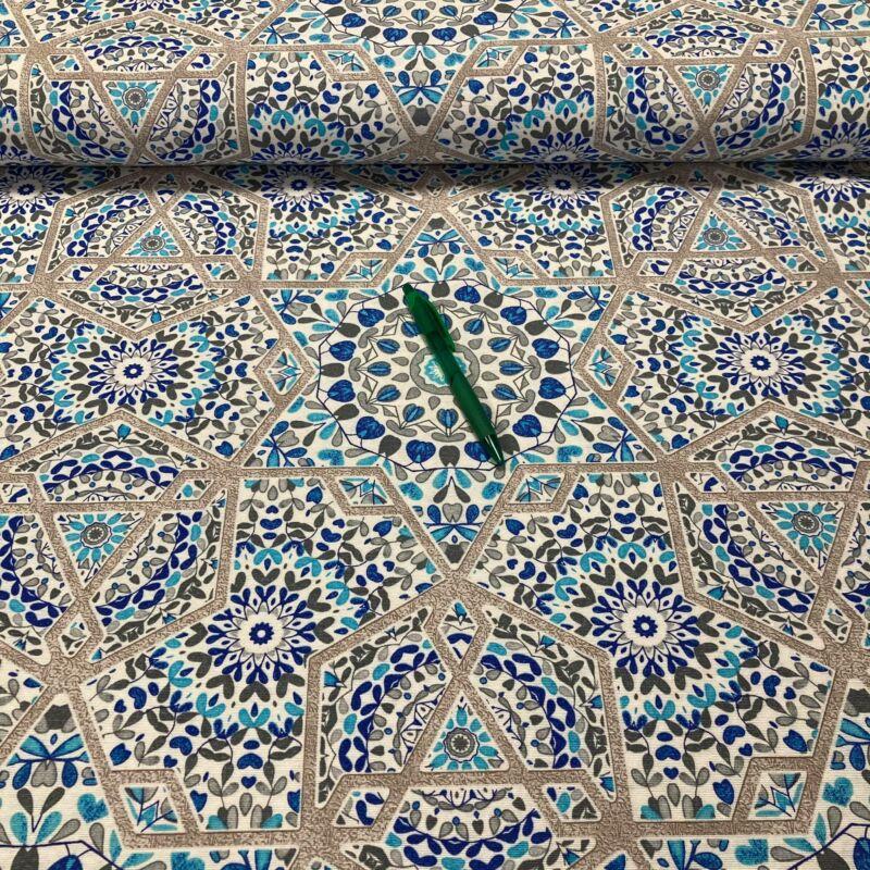 kék mediterrán mozaik mintás loneta vászon