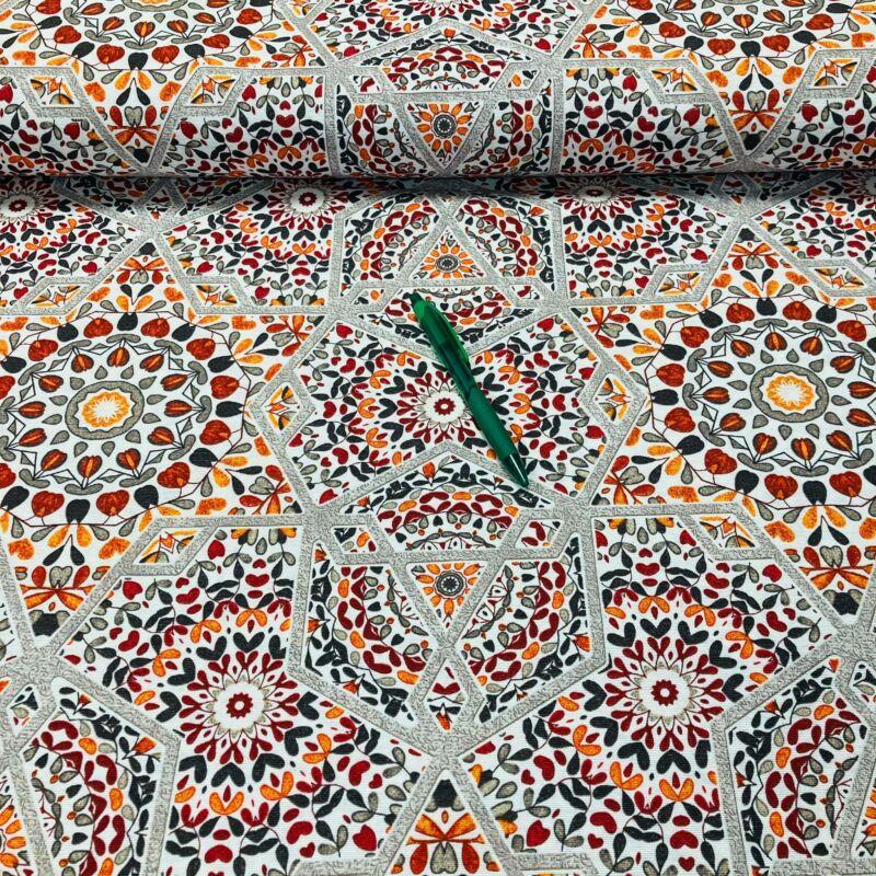 mediterrán mozaik mintás loneta vászon