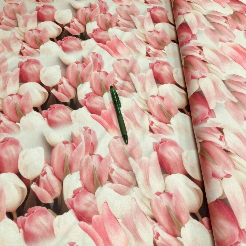tulipán mintás viszkóz anyag