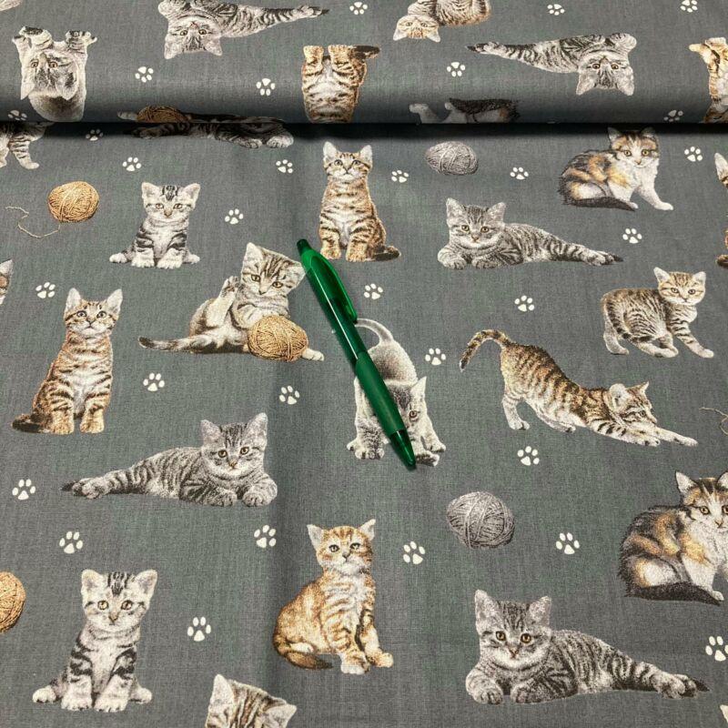 középszürke alapon cica mintás pamut karton