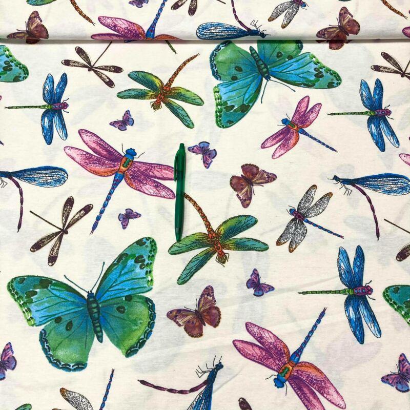 pillangó-szitakötő mintás loneta vászon