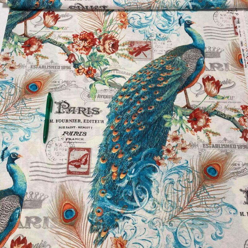 páva mintás loneta vászon