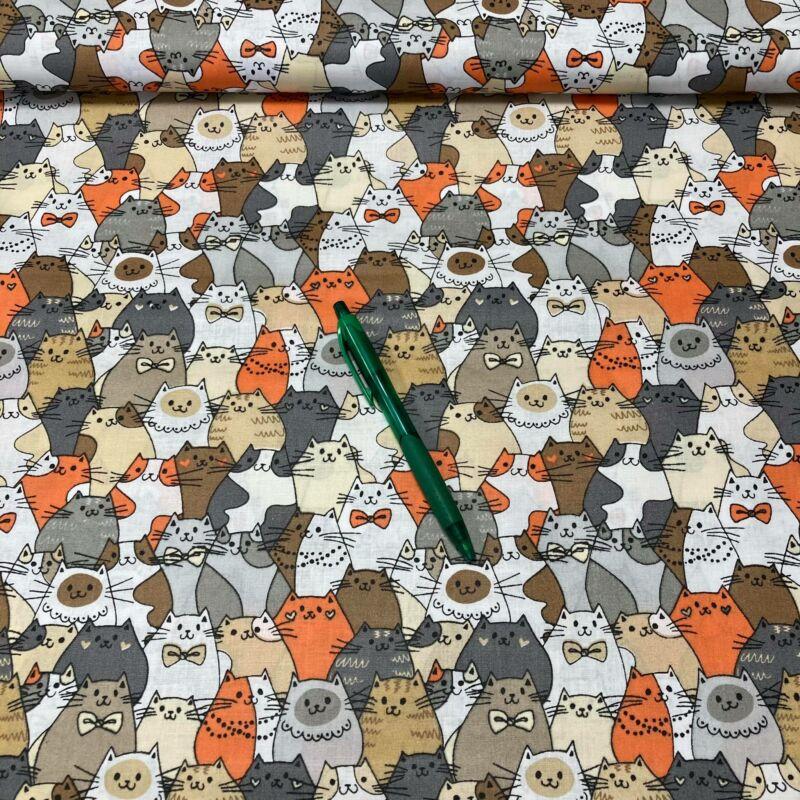 narancs-szürke cica mintás pamut karton