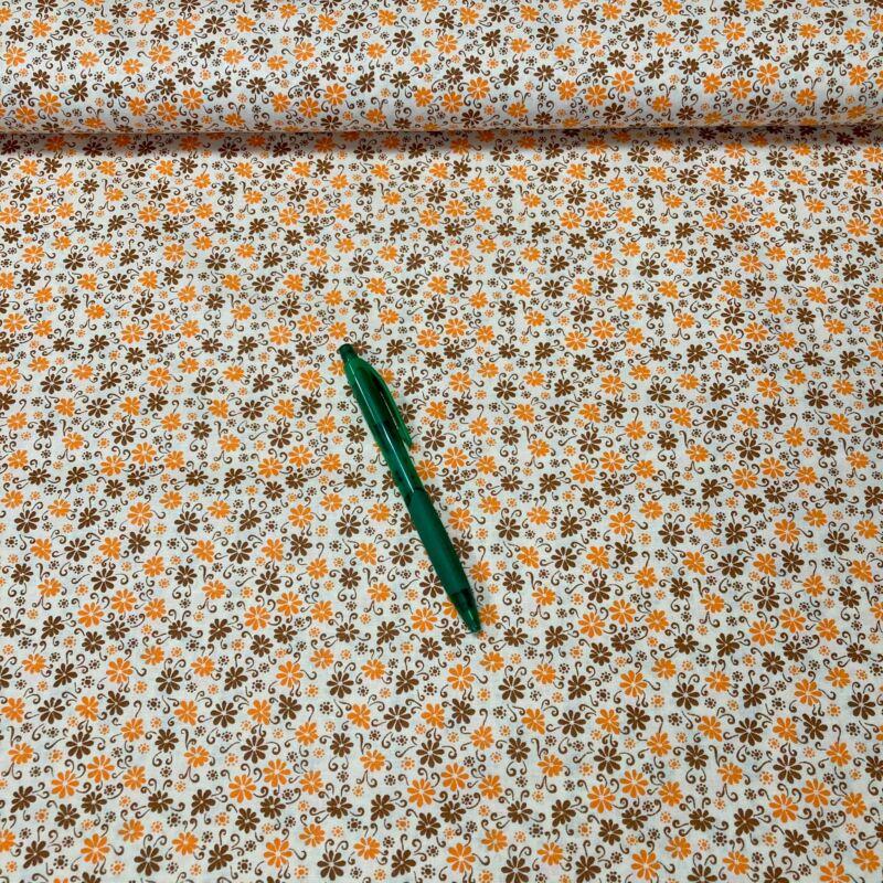 narancssárga virág mintás pamut karton