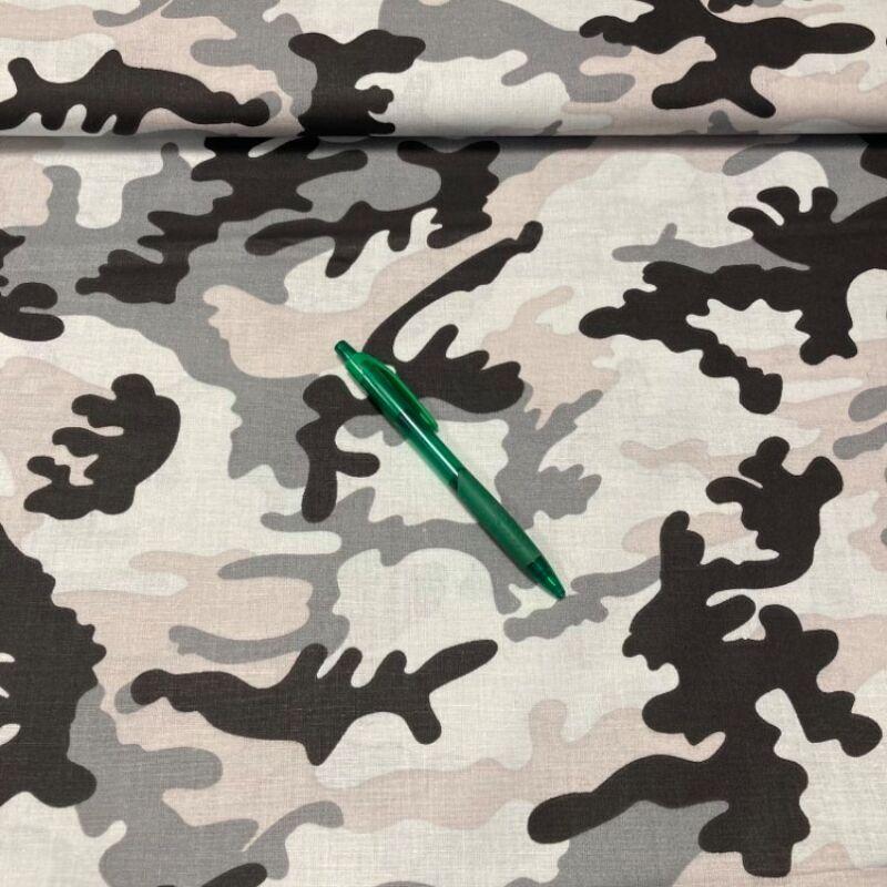 szürke árnyalatos terep mintás pamut karton