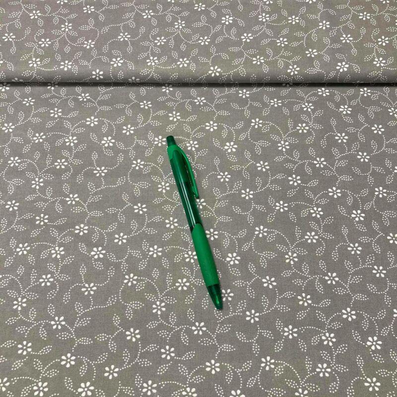 szürke-fehér virág mintás pamut karton