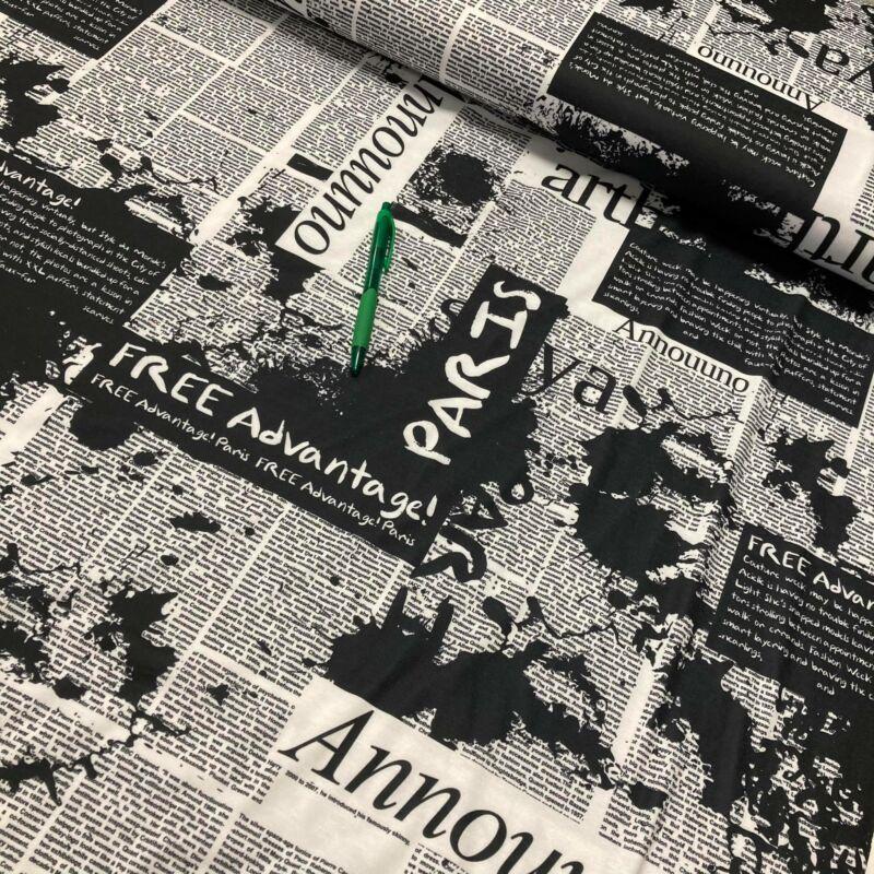 újság mintás viszkóz pólóanyag