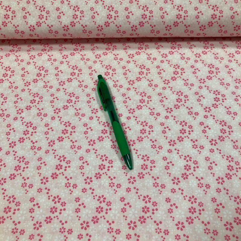 rózsaszín apró virág mintás pamut karton