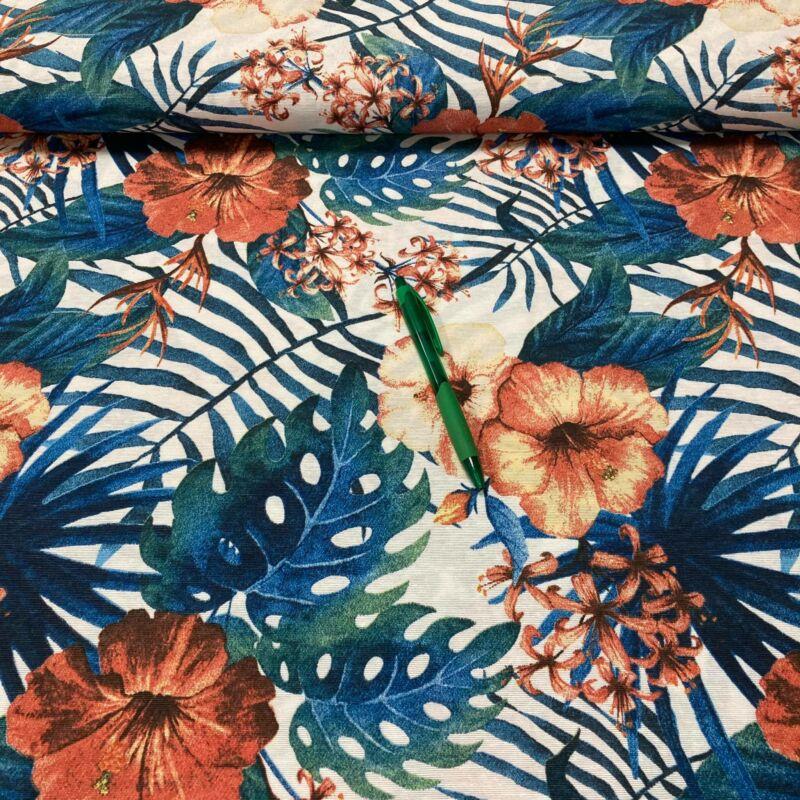 pálma leveles, virág mintás loneta vászon