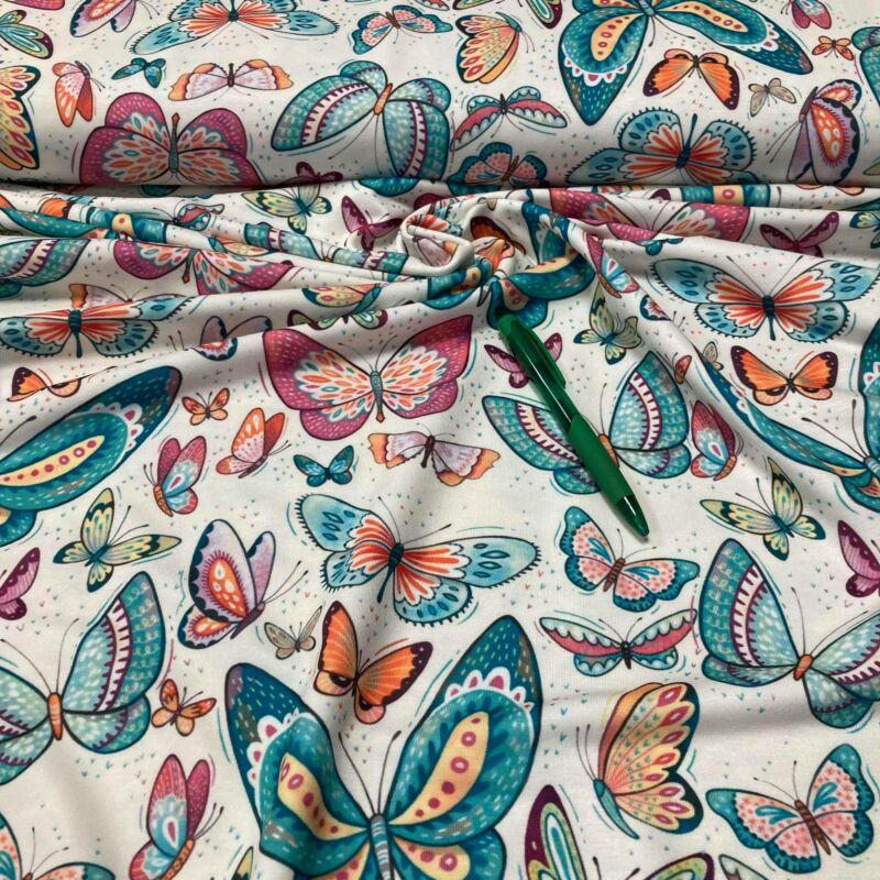 pillangó mintás kevert szálas pólóanyag