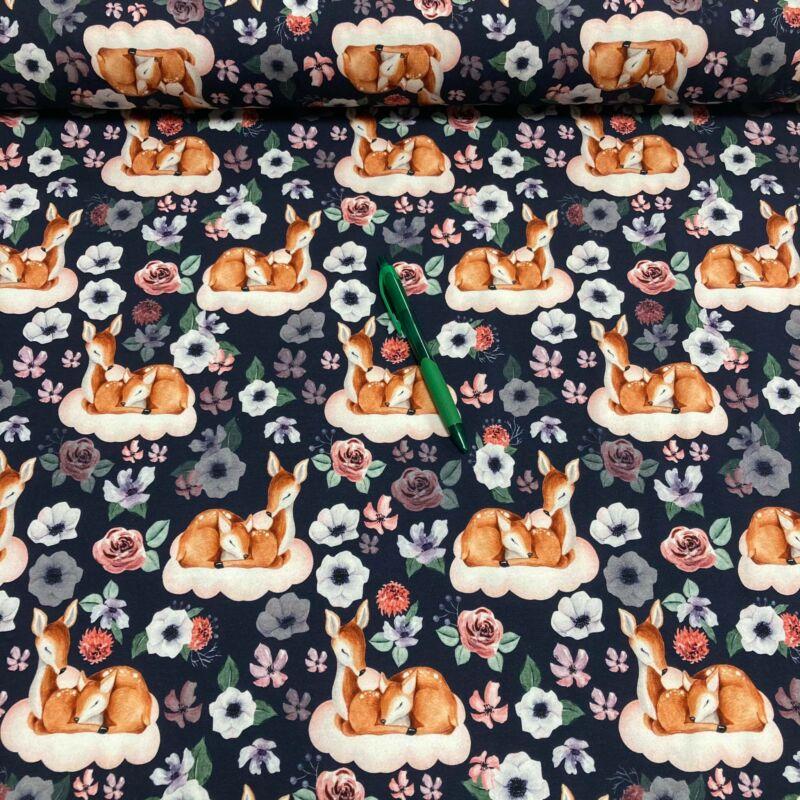 őzike mintás holland pólóanyag