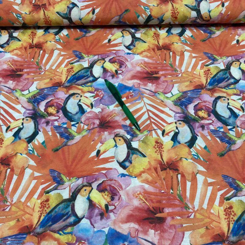 színes tukán madár mintás loneta vászon