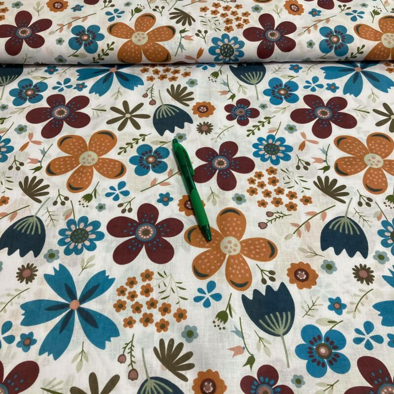 narancs, kék,bordó virág mintás pamut karton