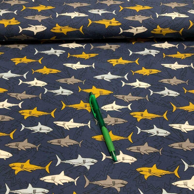 sötétkék alapon cápa mintás pamutdzsörzé