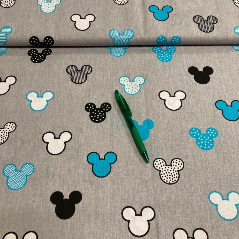 szürke alapon kék mickey mintás pamut karton