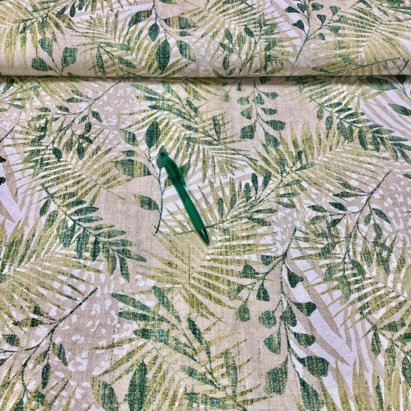 zöld levél mintás loneta vászon