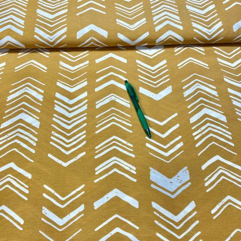 sárga alapon háztető mintázatú loneta vászon