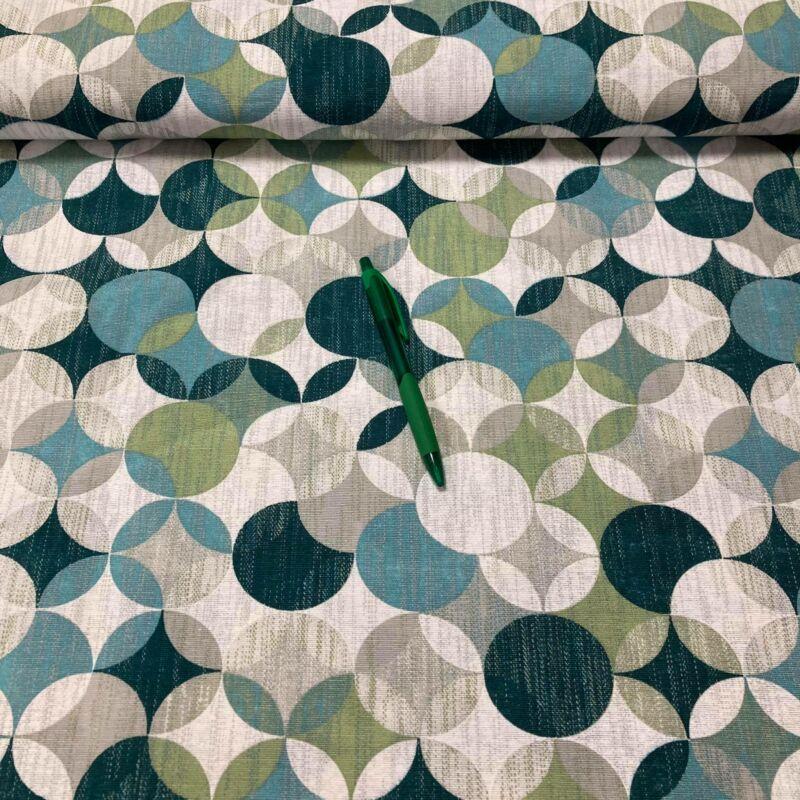 kék-zöld kör mintás loneta vászon