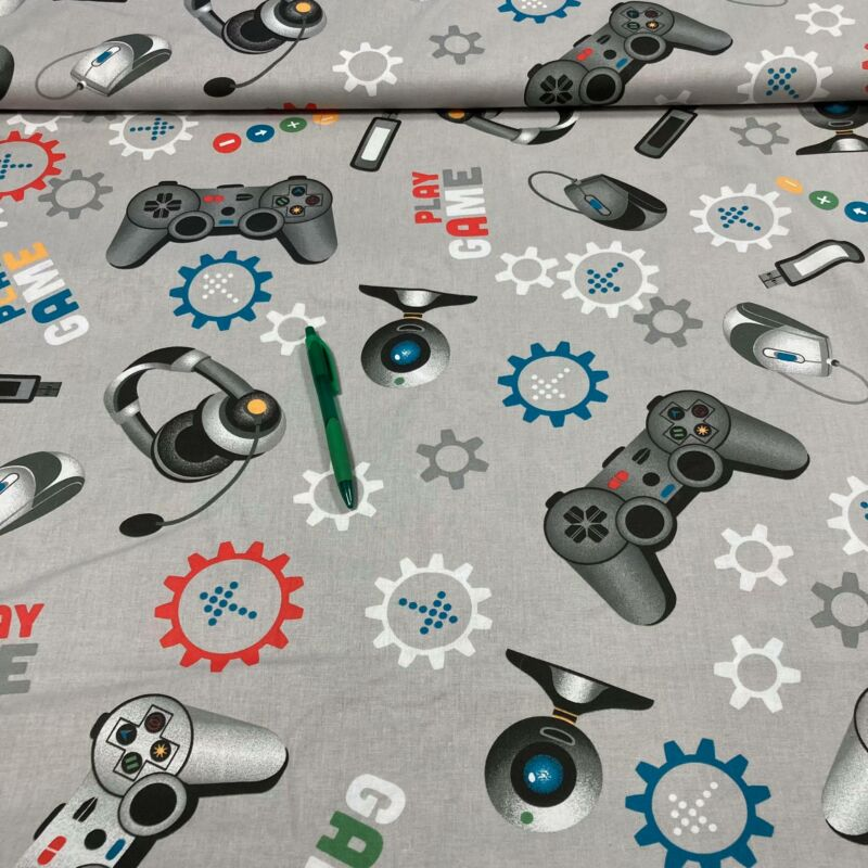 szürke alapon gamer mintás pamut karton