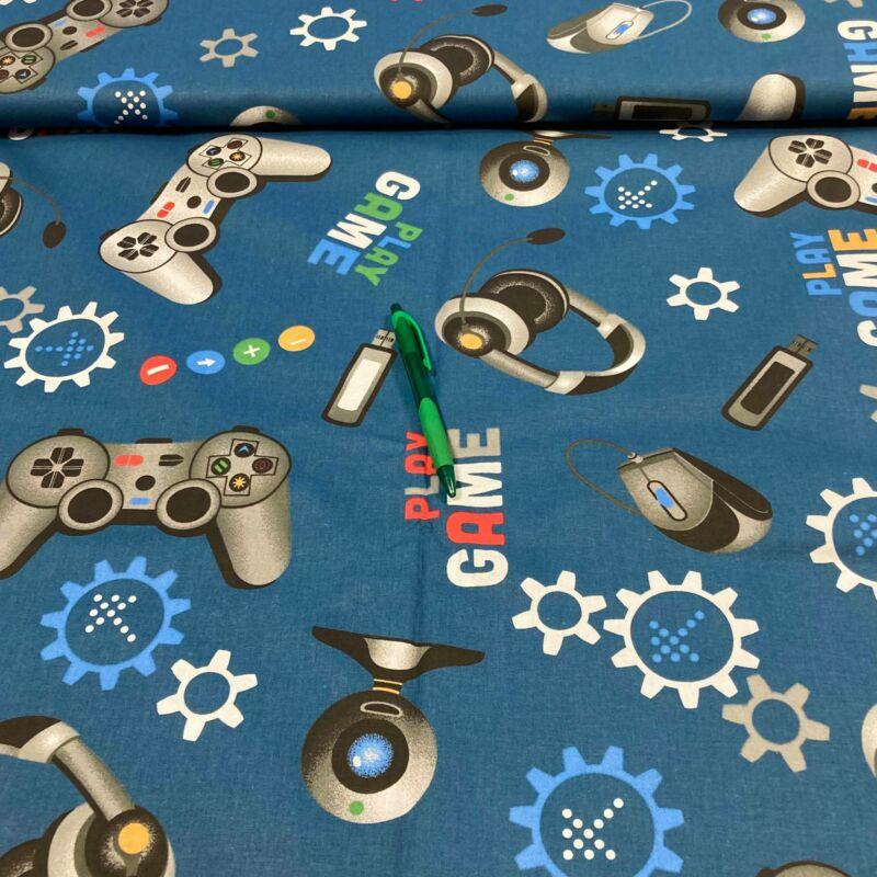 kék alapon gamer mintás pamut karton, 85 cm