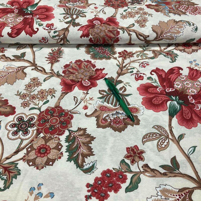 piros virág mintás loneta vászon