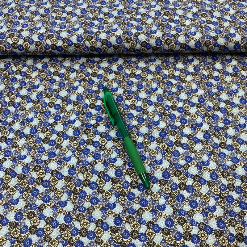 apró virág mintás pamut karton (kék árnyalatai)