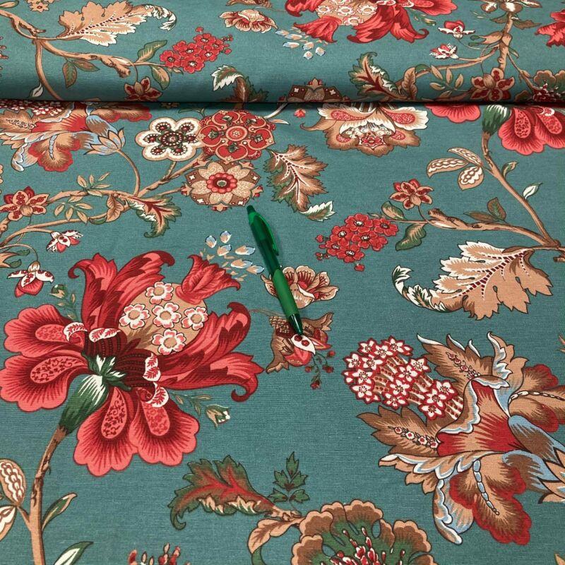 türkiz alapon piros virág mintás pamut karton