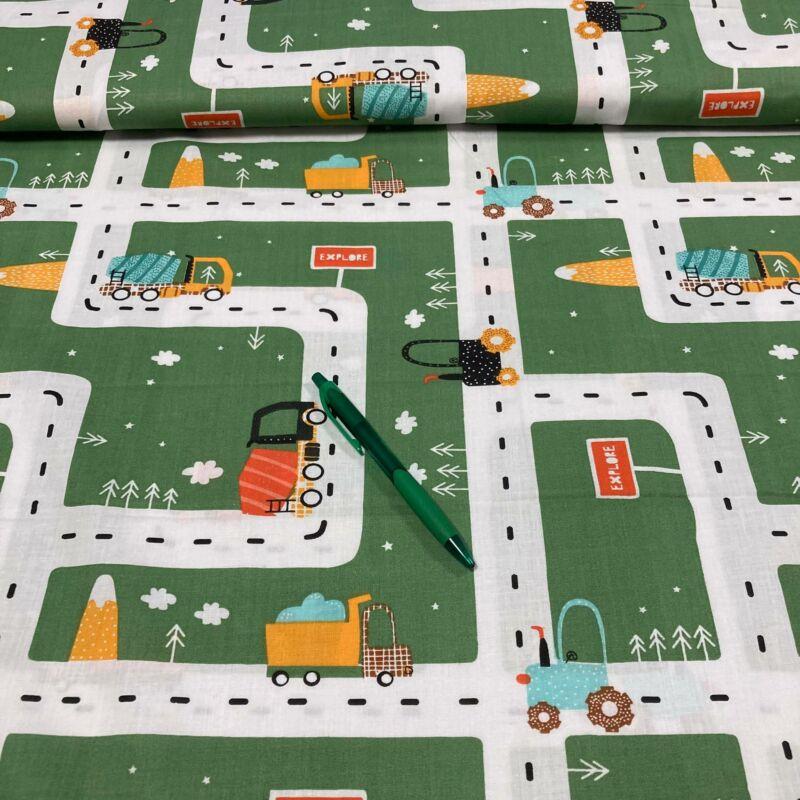 zöld alapon autóút mintás pamut karton