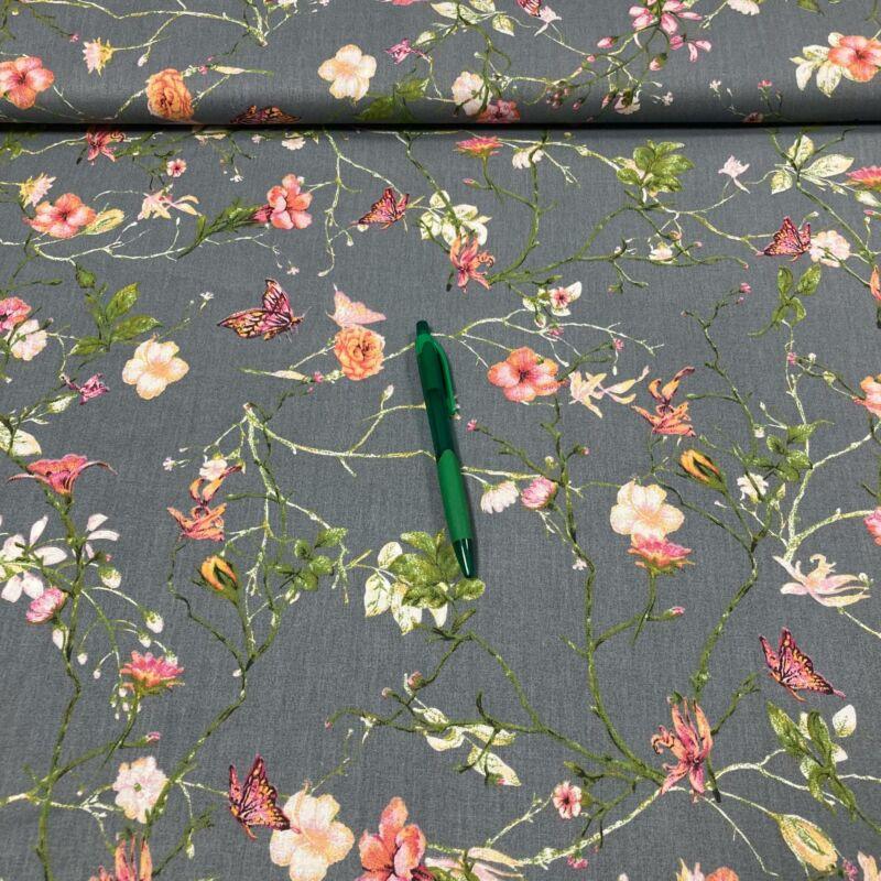 szürke alapon rózsa, pillangó mintás pamut karton