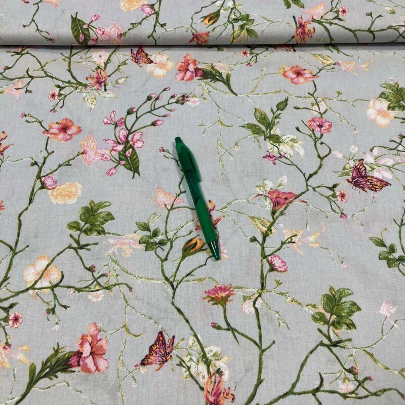 szürke alapon virág, pillangó mintás pamut akrton