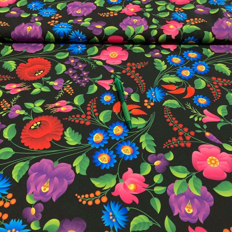 """fekete alapon színes virág mintás """"barbi"""" szövet"""
