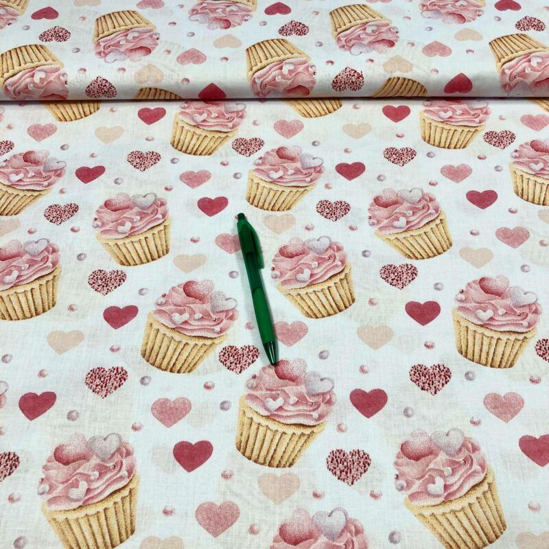 szívecskés muffin mintás pamut karton