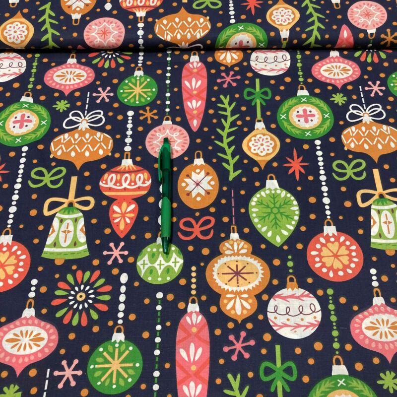 sötétkék alapon színes gömbök mintás karácsonyi pamut karton