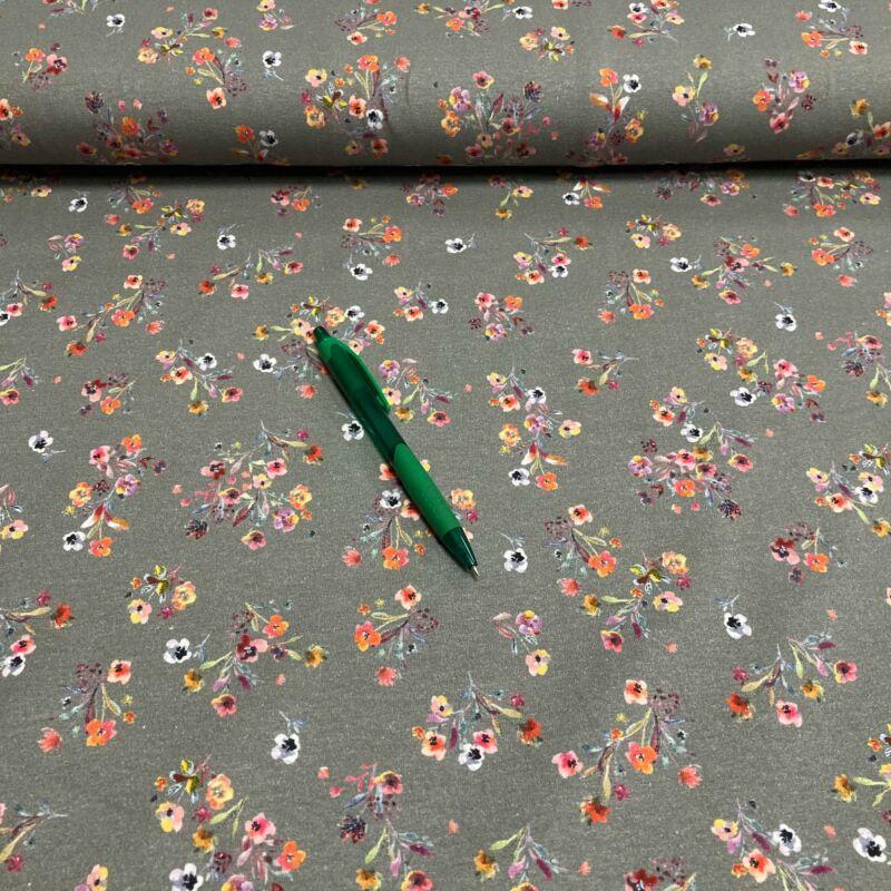 szürke alapon virág mintás holland pólóanyag